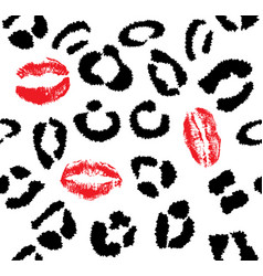 snow leopard red lips vector image vector image
