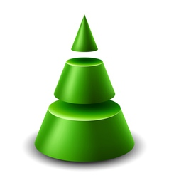 3d cone Christmas tree vector image