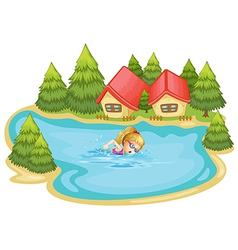 A girl swimming near the pine trees vector image