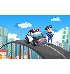 A patrol car and a policeman in the middle of the vector image