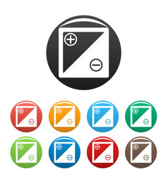 accumulator icons set vector image