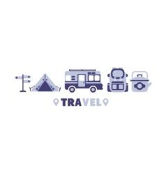 Active Trip Travel Symbols Set By Five In Line vector