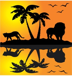 african landscape reflection vector image