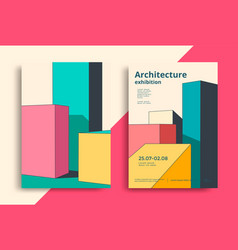architecture poster design with geometric shapes vector image