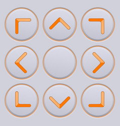 Arrows key pad orange icons on gray buttons vector