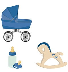 Baby perambulator bottle nipple and rocking horse vector image