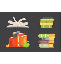 books set in cartoon design style isolated on dark vector image