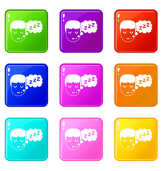 boy head with speech bubble icons 9 set vector image