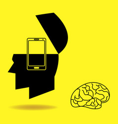 Brain being replaced by a smart phone vector