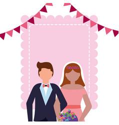 bride and groom wedding greeting card vector image