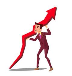 businessman raising arrow up graph of sales vector image