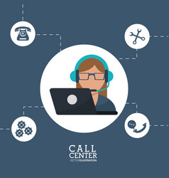 call center operator support helpline service vector image