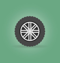 Car wheel with tyre modern flat icon on vector
