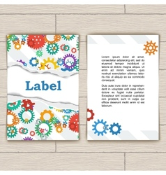Card with Gears and Torn Paper vector image