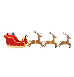 cartoon sleigh reindeers of santa claus vector image