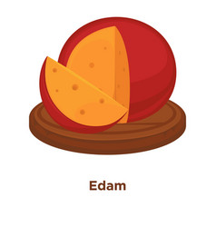 Cheese edam sort flat isolated slice icon vector