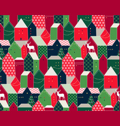 christmas city pattern vector image
