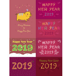 christmas new year 2019 set vector image