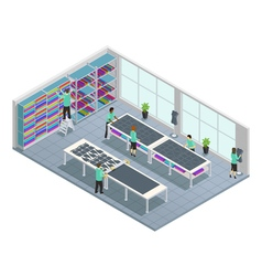 Clothes Factory Isometric Composition vector image