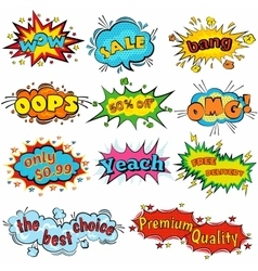 Comic sound effects in pop art style Sound vector image