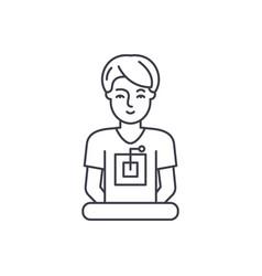 computer specialist line icon concept computer vector image