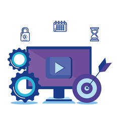 computer with social media marketing icons vector image