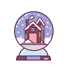 crystal ball with house decoration merry christmas vector image
