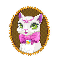 Cute white kitty princess portrait vector