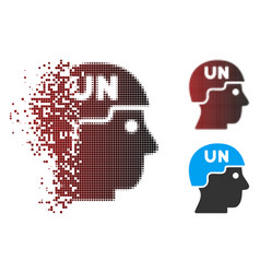 Destructed pixel halftone united nations soldier vector