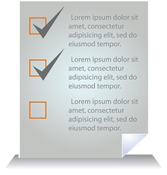 Document template with tick boxes vector