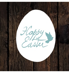 easter greeting calligraphy wooden vector image