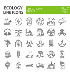 Ecology line icon set eco symbols collection vector