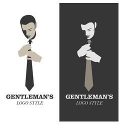 Elegant man with mustache wearing a tie gentleman vector