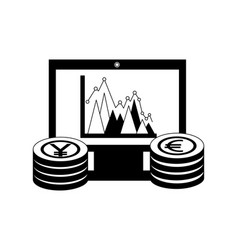 euro and yen business in computer vector image