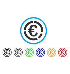 Euro financial diagram rounded icon vector