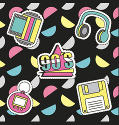 fashion 90s patches retro elements collection vector image