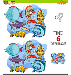Finding differences game with funny fish vector
