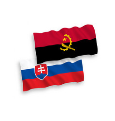 flags slovakia and angola on a white background vector image