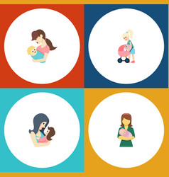 Flat icon mam set of newborn baby child mother vector