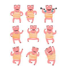 Flat set of pink humanized pig in different vector