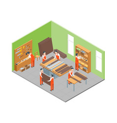 furniture makers at work and interior with vector image