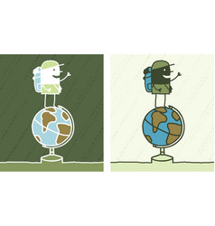 globe trotter colored cartoon vector image