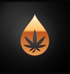 Gold medical marijuana or cannabis leaf olive oil vector