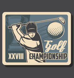 golf club championship sport game cup tournament vector image