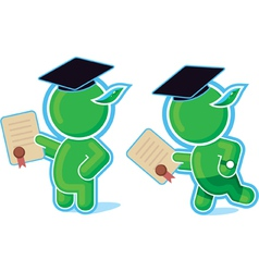 Green hero with diploma vector