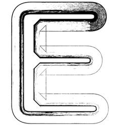 Grunge Font letter E vector image
