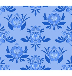 Gzhel flower seamless pattern Flowers and leaves vector
