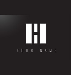h letter logo with black and white negative space vector image