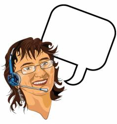 headset lady vector image vector image