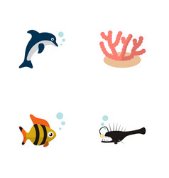 Icon flat nature set tuna anglerfish dolphin vector